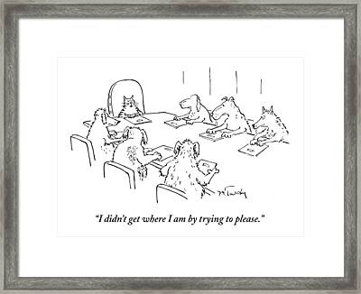 Dogs At A Meeting Framed Print by Mike Twohy