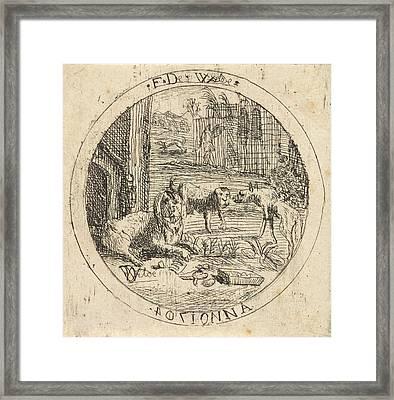 Dogs In A Doghouse, Franz De Wilde Framed Print