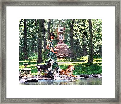 Dogs Lay At Her Feet Framed Print by Steve Karol