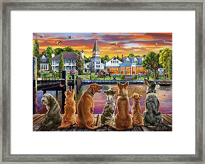 Dogs On The Quay Framed Print