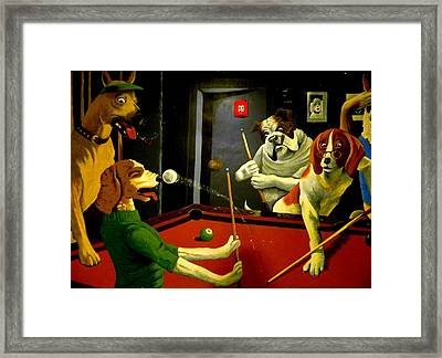 Dogs Playing Pool Wall Art Unknown Painter Framed Print