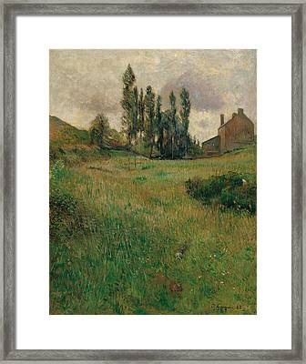 Dogs Running In A Meadow Framed Print by Paul Gauguin
