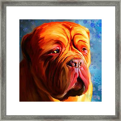 Vibrant Dogue De Bordeaux Painting On Blue Framed Print by Michelle Wrighton