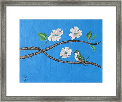 Framed Print featuring the painting Dogwood And Hummingbird by Ella Kaye Dickey
