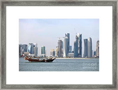 Doha City Skyline 2012 Framed Print by Paul Cowan