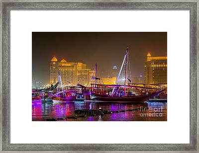 Doha Dhow Festival At Night Framed Print by Paul Cowan