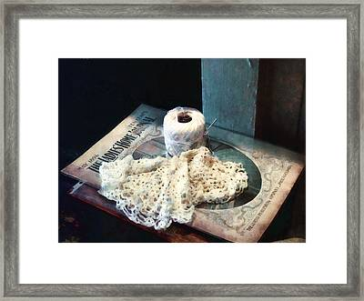 Doily And Crochet Thread Framed Print by Susan Savad