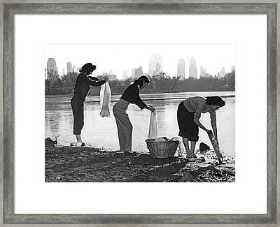 Doing Laundry In Central Park Framed Print by Underwood Archives