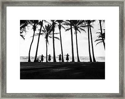 Doing The Hula At Sunset Framed Print by Underwood & Underwood