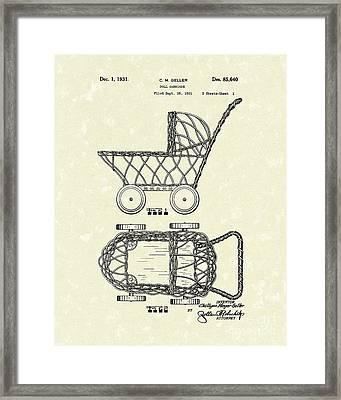 Doll Carraige 1931 Patent Art Framed Print by Prior Art Design
