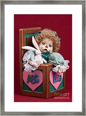 Doll Clown In Box Framed Print