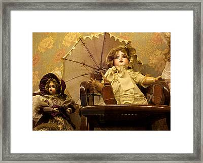 Antique Doll In Chair With Parasol Framed Print