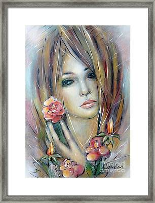 Framed Print featuring the painting Doll With Roses 010111 by Selena Boron