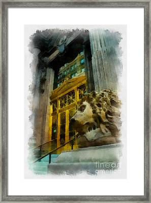 Dollar Bank Lion Pittsburgh Framed Print by Amy Cicconi
