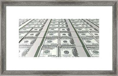 Dollar Bill Bundles Laid Out Framed Print by Allan Swart