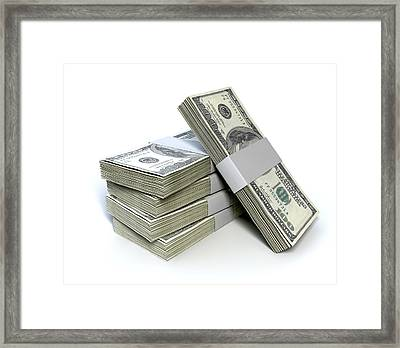 Dollar Bill Bundles Pile  Framed Print
