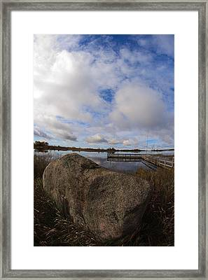 Dollarville Dock Framed Print by Brady D Hebert