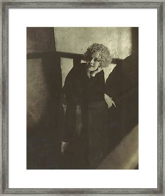 Dolores Costello Leaning On A Handrail Framed Print