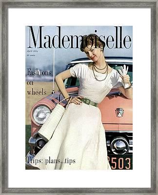 Dolores Hawkins In Front Of A Ford Crestline Framed Print by Herman Landshoff