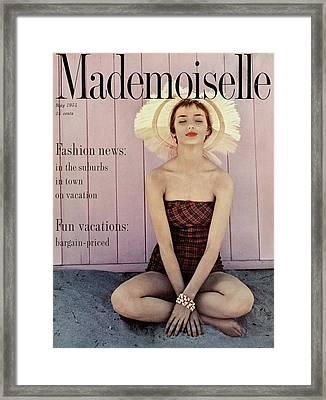 Dolores Hawkins Wearing A Jantzen Swimsuit Framed Print by Herman Landshoff
