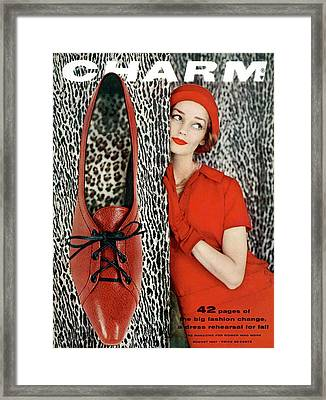 Dolores Hawkins Wears A Dachettes Hat And Red Framed Print by Carmen Schiavone