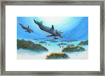 Framed Print featuring the painting Dolphen Moves by Myrna Walsh