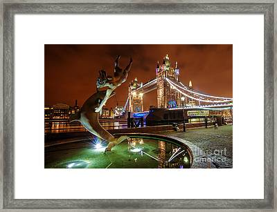 Dolphin Fountain Tower Bridge London Framed Print by Donald Davis