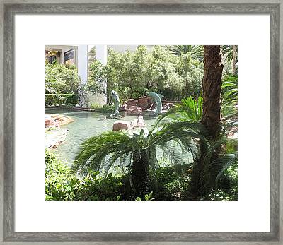 Framed Print featuring the photograph Dolphin Pond And Garden Green by Navin Joshi
