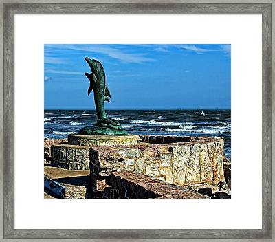 Dolphin Statue Framed Print by Judy Vincent