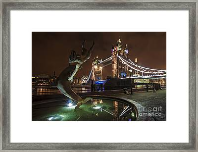 Dolphin Statue Tower Bridge Framed Print by Donald Davis