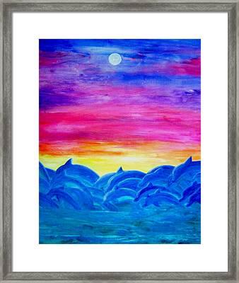 Dolphin Sunset Framed Print by Sheri Salin