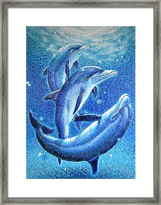 Framed Print featuring the painting Dolphin Trio by Mia Tavonatti