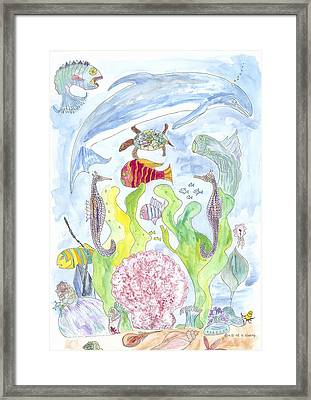 Dolphin With Pink Sea Scallop Framed Print