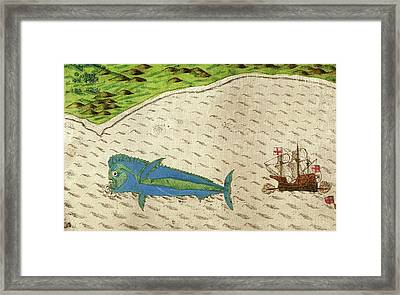 Dolphinfish From Drake's Voyages Framed Print by Library Of Congress, Rare Book And Special Collections Division