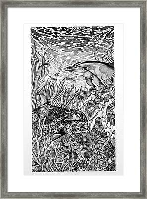 Framed Print featuring the drawing Dolphins At Play by Alison Caltrider