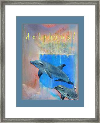 Framed Print featuring the pastel Dolphins by Brooks Garten Hauschild