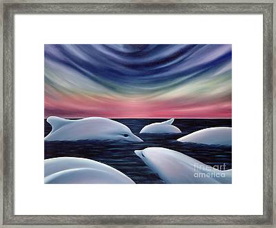 Dolphins Dreamtime Framed Print by Rosemarie Morelli