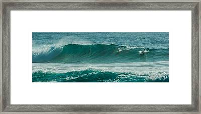 Dolphins In Wave 10 Framed Print