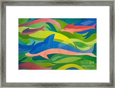 Dolphins Painting Framed Print by Lutz Baar