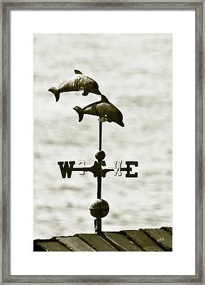 Dolphins Weathervane In Sepia Framed Print by Ben and Raisa Gertsberg