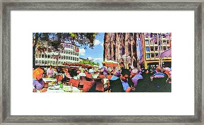 Dome Cafe In Cologne Framed Print