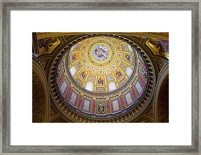 Dome Interior Of The St Stephen Basilica In Budapest Framed Print