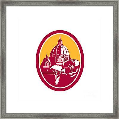 Dome Of St Peter's Basilica Vatican Retro Framed Print