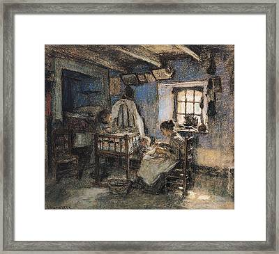 Domestic Interior, Wissant, 1913 Pastel On Paper Framed Print by Leon Augustin Lhermitte