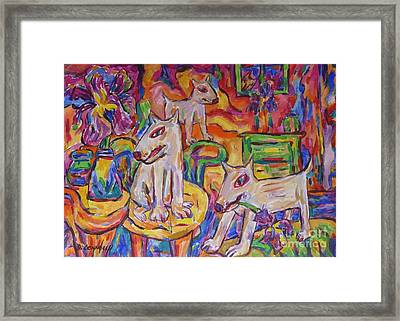 Domesticated Wolves In Dutch Iris Room Framed Print