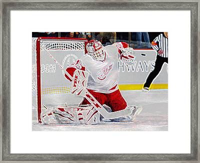 Dominic Hasek Framed Print by Don Olea