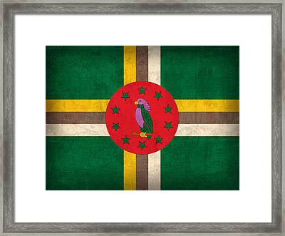 Dominica Flag Vintage Distressed Finish Framed Print