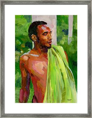 Dominican Boy With Towel Framed Print by Douglas Simonson