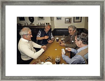 Domino Game In An English Pub In 1989 Framed Print