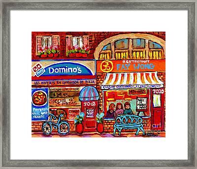 Domino Pizza And Yellow Dragon Faye Wong Chinese Restaurant Storefronts City Scenes Carole Spandau  Framed Print by Carole Spandau